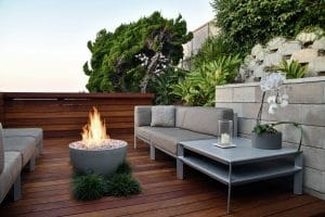 Fire pit on oceanview deck