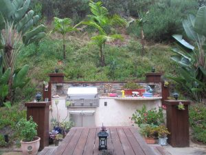 barbecue before being replaced with a waterfall